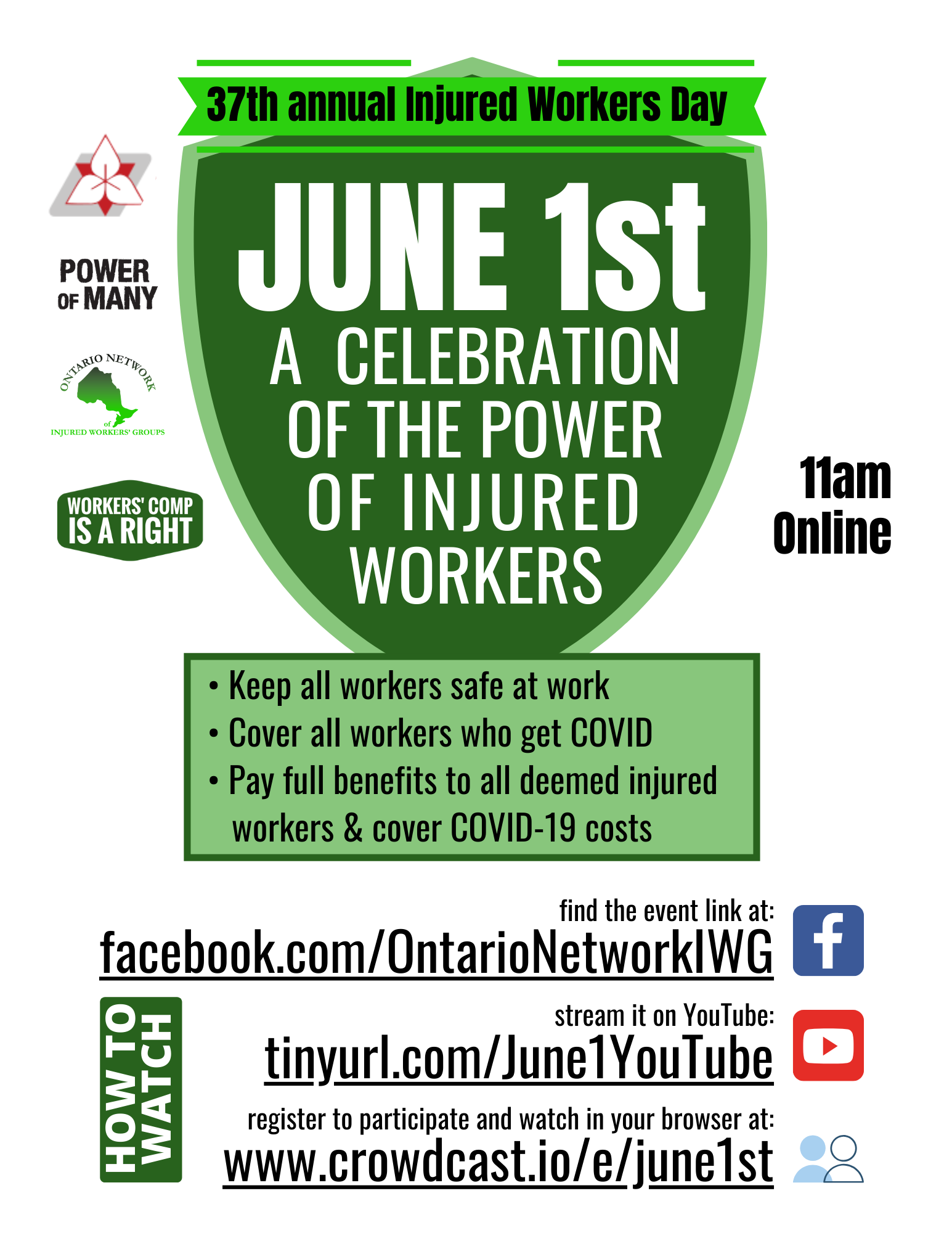2020 June 1st join Injured Workers Day online