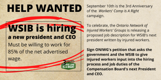ONIWG petition on injured worker input in hiring the next WSIB president and CEO