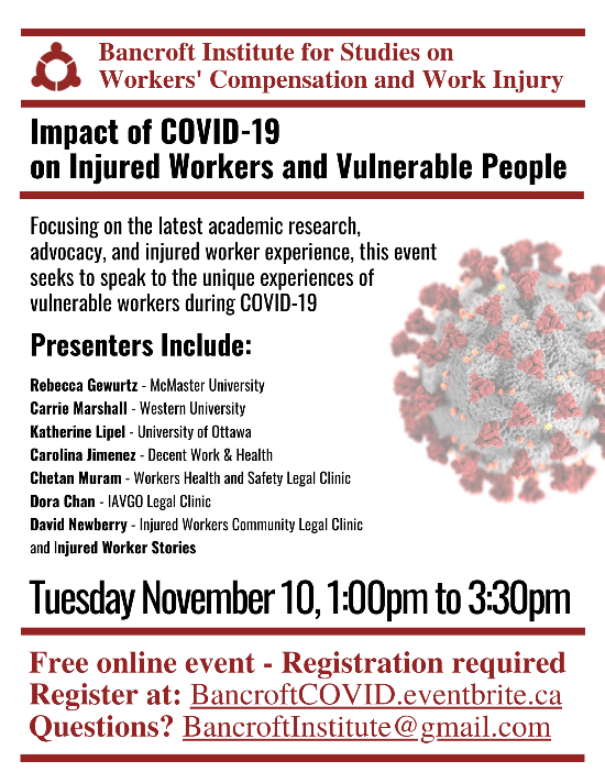 Program for November 10 Bancroft session on the impact of COVID-19 on injured workers and vulnerable people