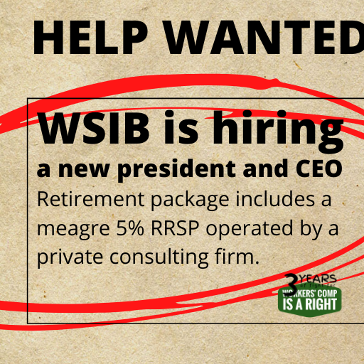 Poster for WCIAR petition on the hiring process for a new WSIB CEO