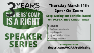 flyer for WCIAR speaker series number 3 on pre-existing conditions March 11 at 2 pm