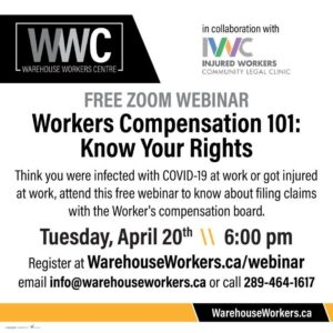 how to sign up for webinar April 20 at 6 pm on workers' compensation rights